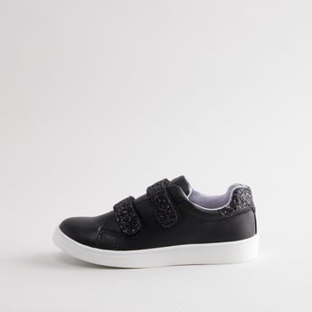 Panelled Low-Top Shoes with Hook and Loop Closure