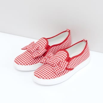 Chequered Slip-On Shoes with Bow Detail and Elasticised Gussets