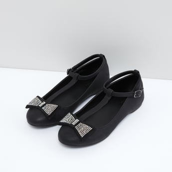Studded Bow Detail Shoes with Ankle Straps and Pin Buckle Closure
