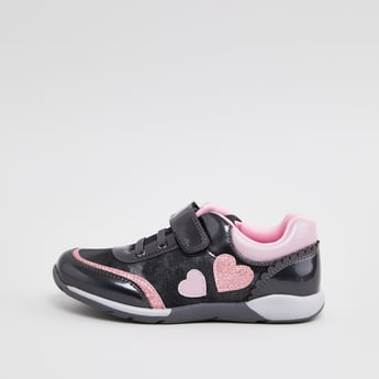 Sneakers with Applique Detail and Hook and Loop Closure