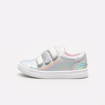 Glitter Detail Slip-On Sneakers with Hook and Loop Closure