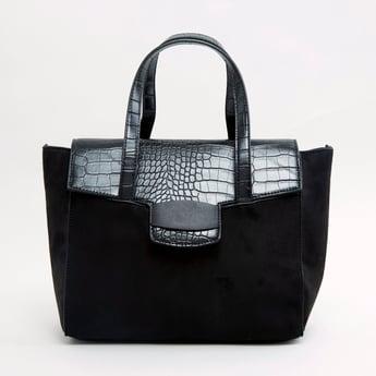 Animal Textured Handbag with Twin Strap Handles