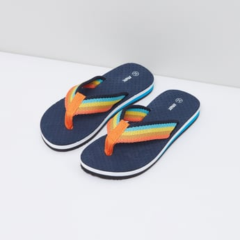 Textured Flip Flops with Striped Straps