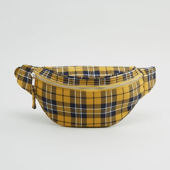 Checked Fanny Pack with Zip Closure
