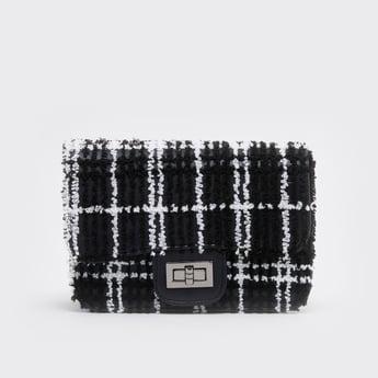 Textured Satchel Bag with Metallic Chain