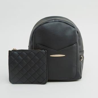 حقيبة ظهر بارزة الملمس مع حقيبة صغيرة مبطّنة
