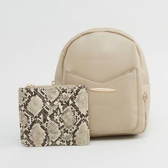 حقيبة ظهر بارزة الملمس مع حقيبة صغيرة بطبعات حيوان