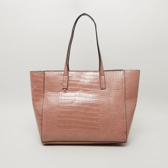 Textured Tote Bag with Shoulder Straps
