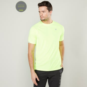 Solid Round Neck Quick Dry Reflective T-shirt with Short Sleeves