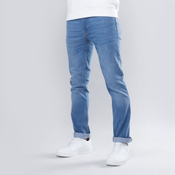 Slim Fit Full Length Plain Mid Waist Jeans with Pocket Detail