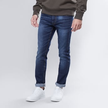 Skinny Fit Mid-Rise Fashion Washed Jeans