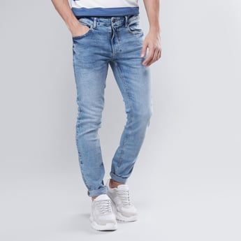 Skinny Fit Mid-Rise Jeans with Pockets