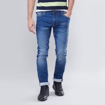 Slim Fit Mid-Rise 5-Pocket Jeans