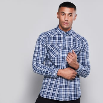 Chequered Shirt with Long Sleeves and Pocket Detail