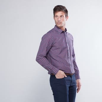Checked Button Down Shirt with Long Sleeves