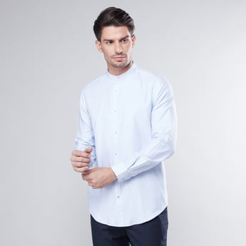 Slim Fit Shirt with Mandarin Collar and Long Sleeves