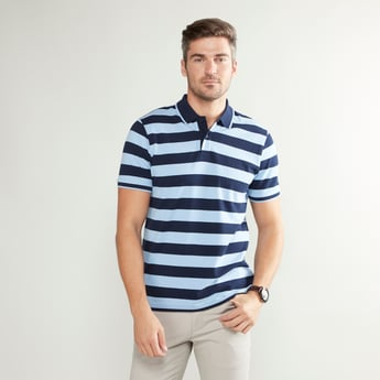 Striped T-shirt with Polo Neck and Short Sleeves