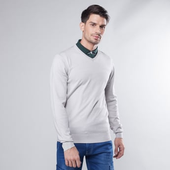 Plain Sweater with V-neck and Long Sleeves