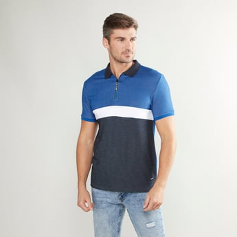 Colourblock T-shirt with Polo Neck and Short Sleeves