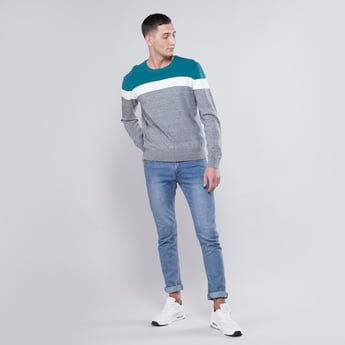 Colourblock Round Neck Sweater with Long Sleeves