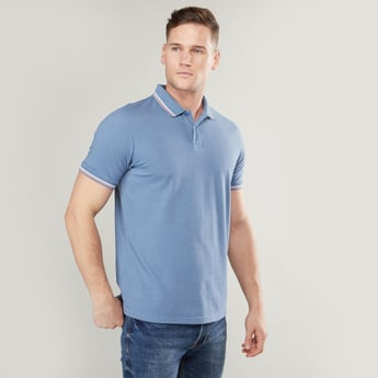 Stripe Detail Polo Neck T-shirt with Short Sleeves