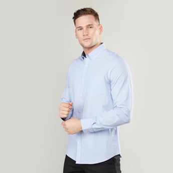 Solid Collared Shirt with Long Sleeves