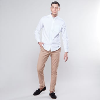 Printed Shirt with Patch Pocket and Long Sleeves