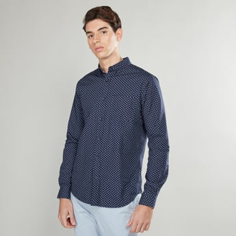 Printed Shirt with Chest Pocket and Long Sleeves