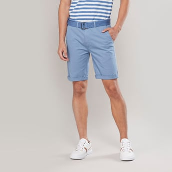 Solid Shorts with Upturned Hems