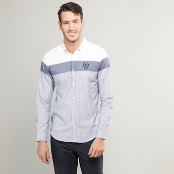 Slim Fit Colour-Blocked Shirt with Long Sleeves