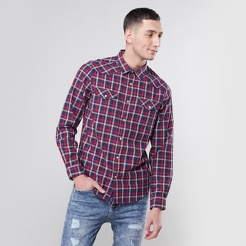 Checked Collared Shirt with Long Sleeves and Flap Pockets