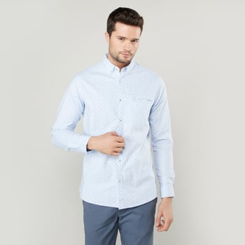 Slim Fit Printed Shirt with Welt Pocket and Long Sleeves