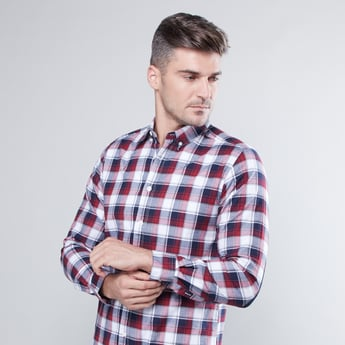 Chequered Button Down Shirt with Long Sleeves