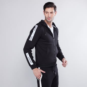 Zip Front Hoodie with Panelled Sleeves