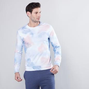 Blotch Print Round Neck Sweatshirt with Long Sleeves