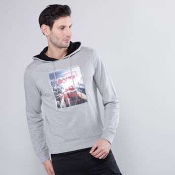 Textured Hoodie with Long Sleeves and Applique