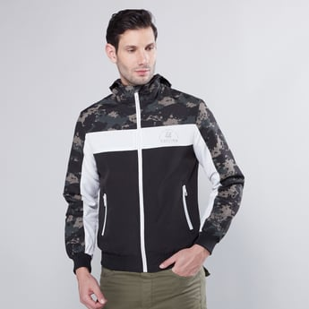 Hooded Jacket with Long Sleeves and Pockets