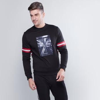 Slim Fit Printed Sweatshirt with Long Sleeves and Tape Detail
