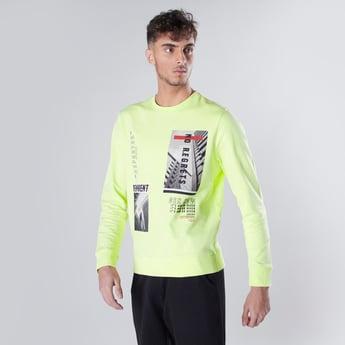 Graphic Printed Sweatshirt with Ribbed Hems