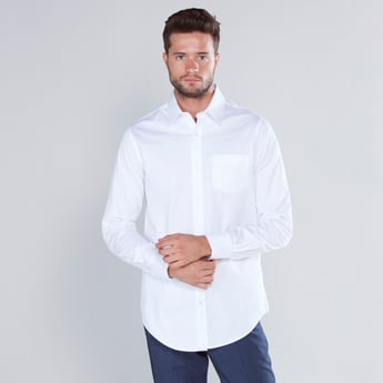 Solid Formal Shirt with Long Sleeves and Patch Pocket