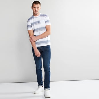 Striped T-Shirt with Pocket Detail and Short Sleeves