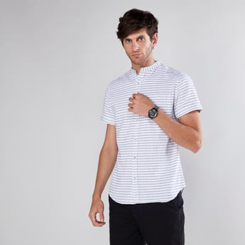 Striped Shirt in Slim Fit with Mandarin Collar and Short Sleeves