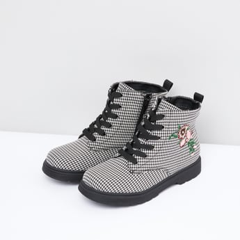 Chequered Boots with Zip Closure and Lace-Up Detail