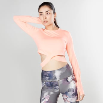 Slim Fit Plain Crop Top with Long Sleeves