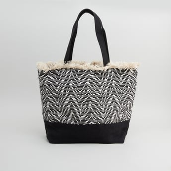 Textured Handbag with Fringe Detail and Short Handles