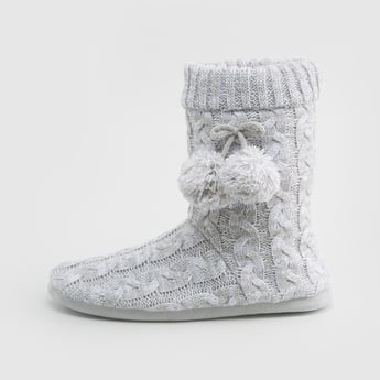 Textured Bedroom Boots with Slip-On Closure