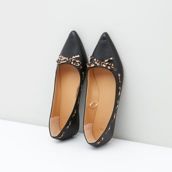 Pointed Toe Slip-On Shoes with Animal Printed Bow Detail