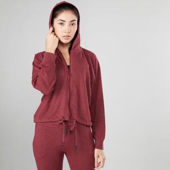 Melange Long Sleeves Jacket with Zip Closure and Hood