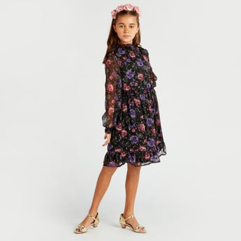 Floral Print Knee Length Dress with Long Sleeves