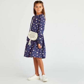Daisy Print Round Neck Dress with Long Sleeves